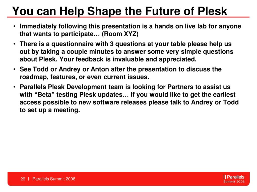 You can Help Shape the Future of Plesk