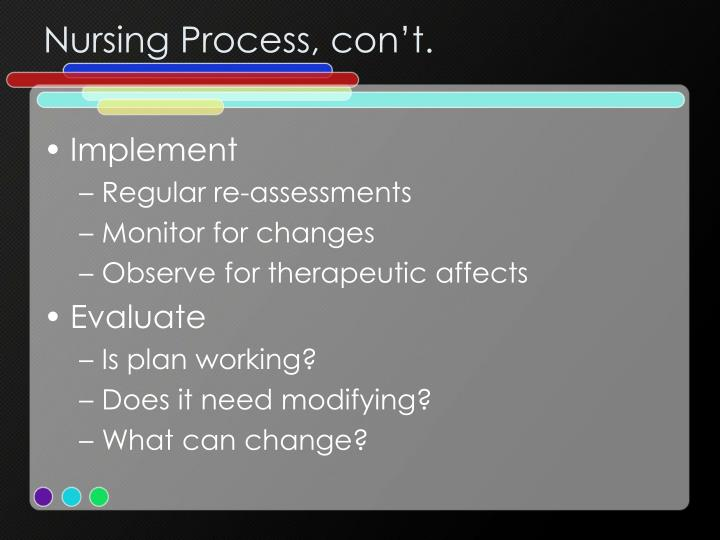Nursing Process, con't.