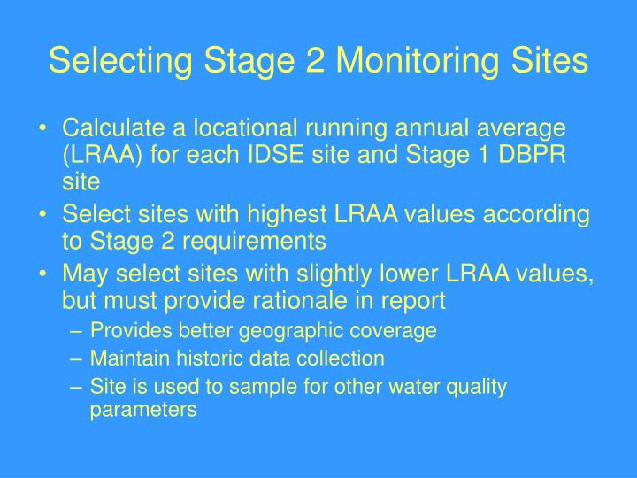 Selecting Stage 2 Monitoring Sites