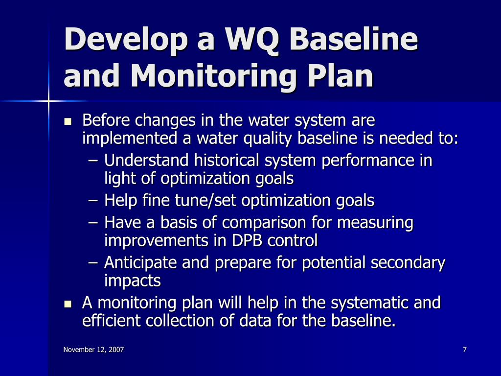Develop a WQ Baseline and Monitoring Plan