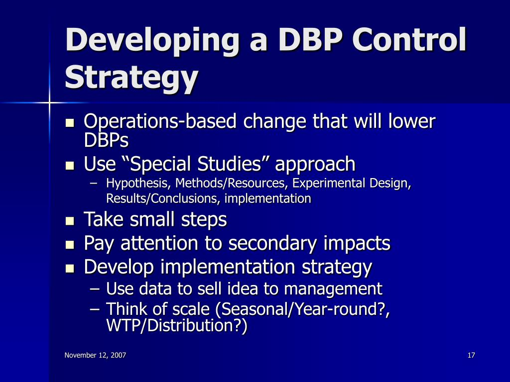Developing a DBP Control Strategy