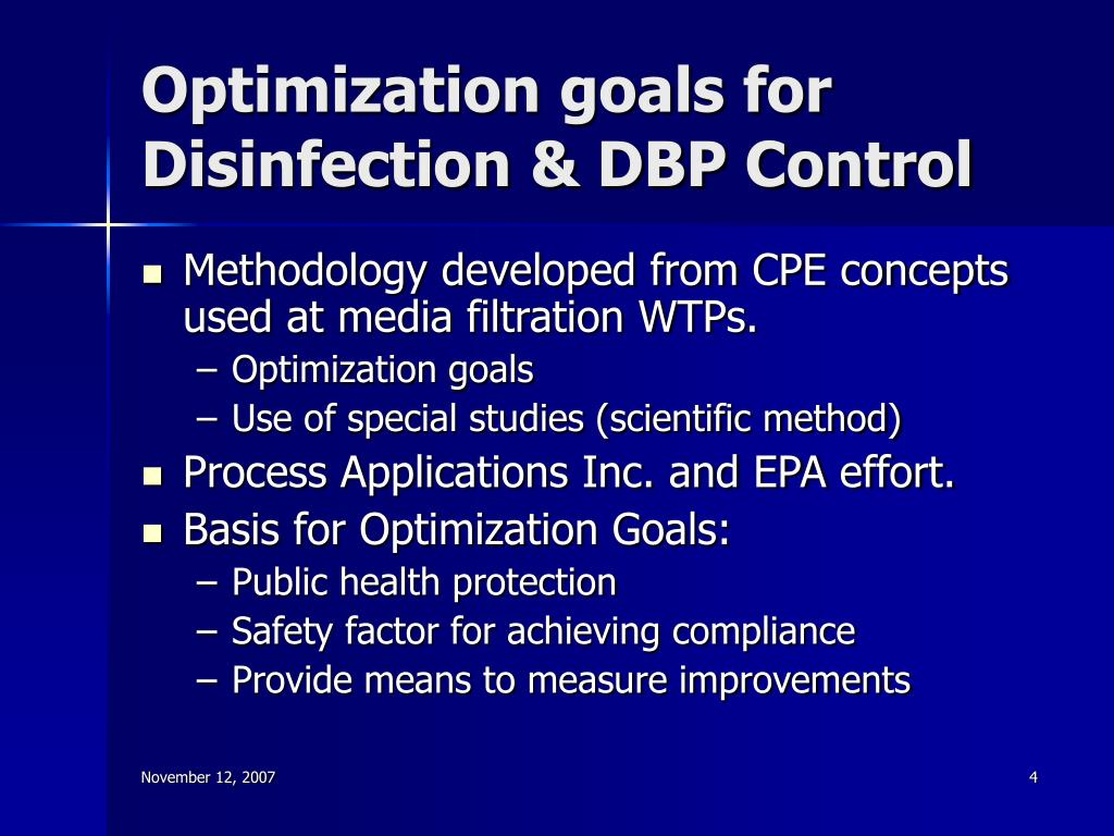 Optimization goals for Disinfection & DBP Control