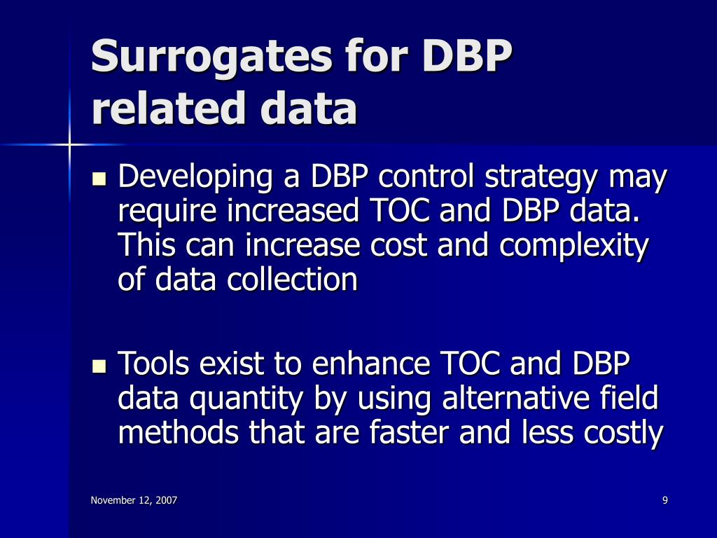 Surrogates for DBP related data
