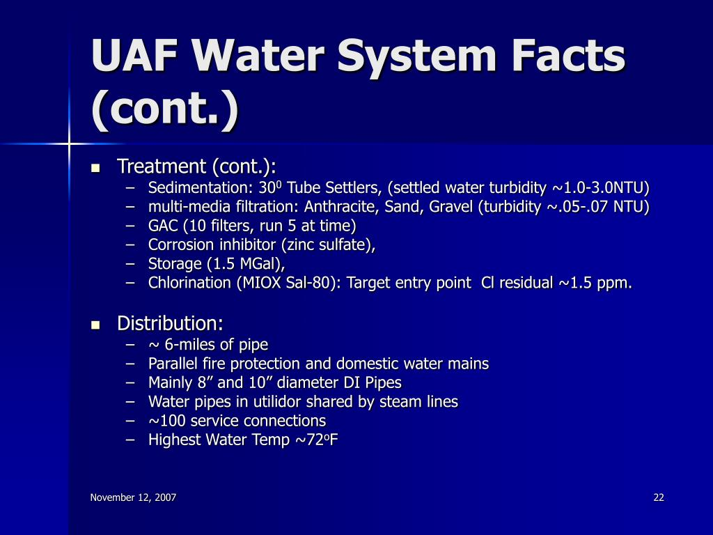 UAF Water System Facts (cont.)