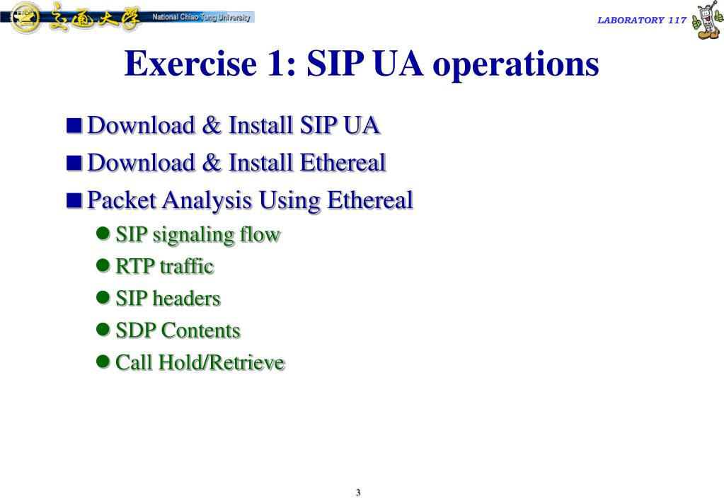 Exercise 1: SIP UA operations