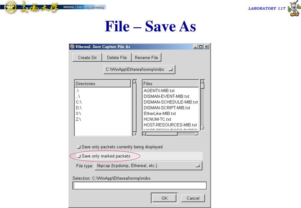 File – Save As