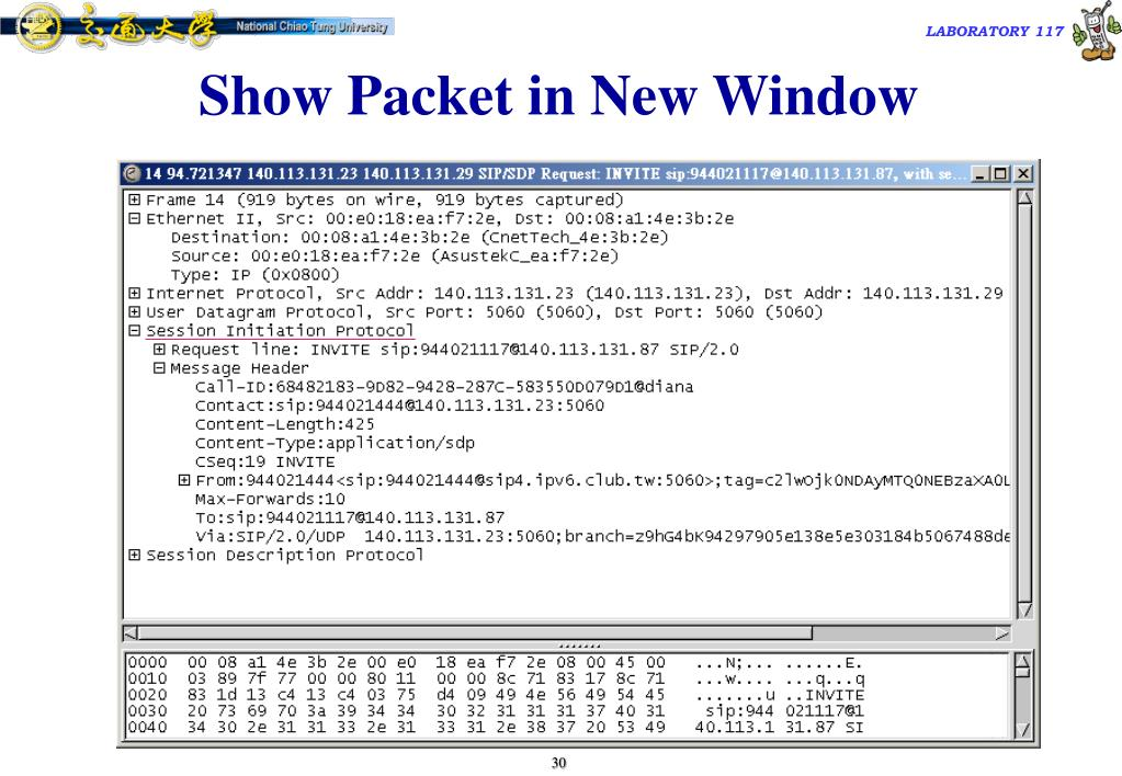 Show Packet in New Window