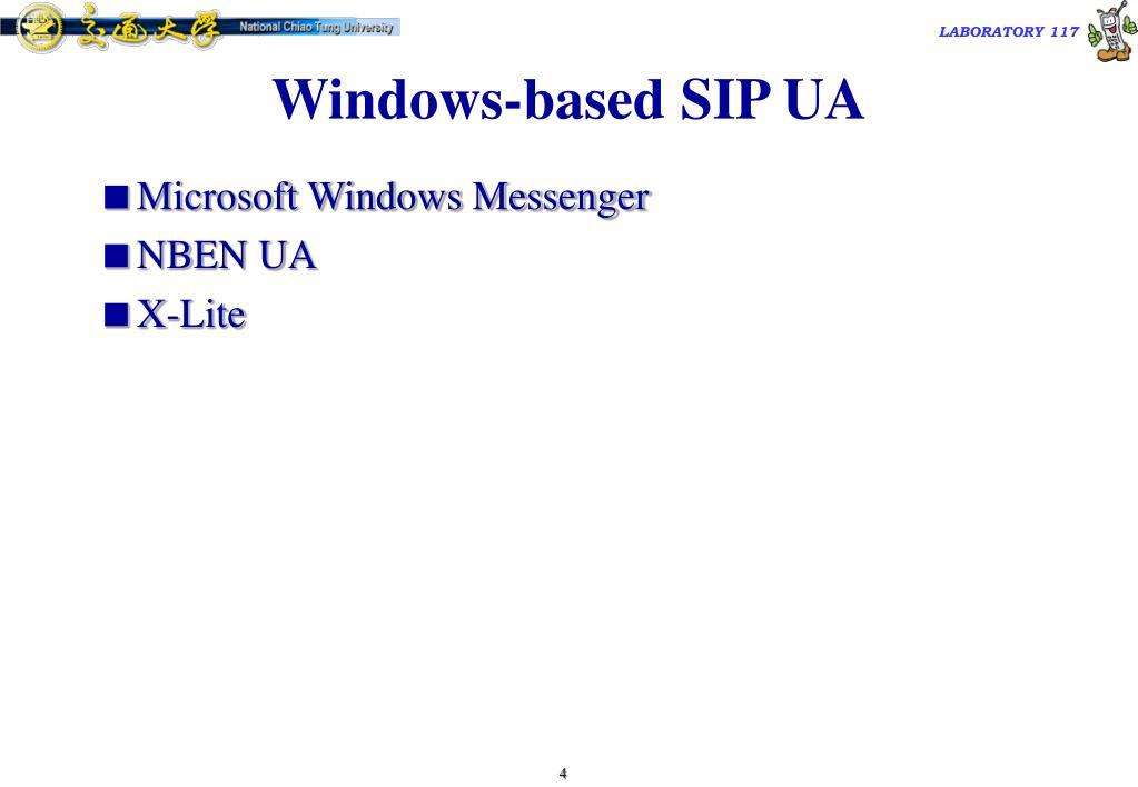 Windows-based SIP UA