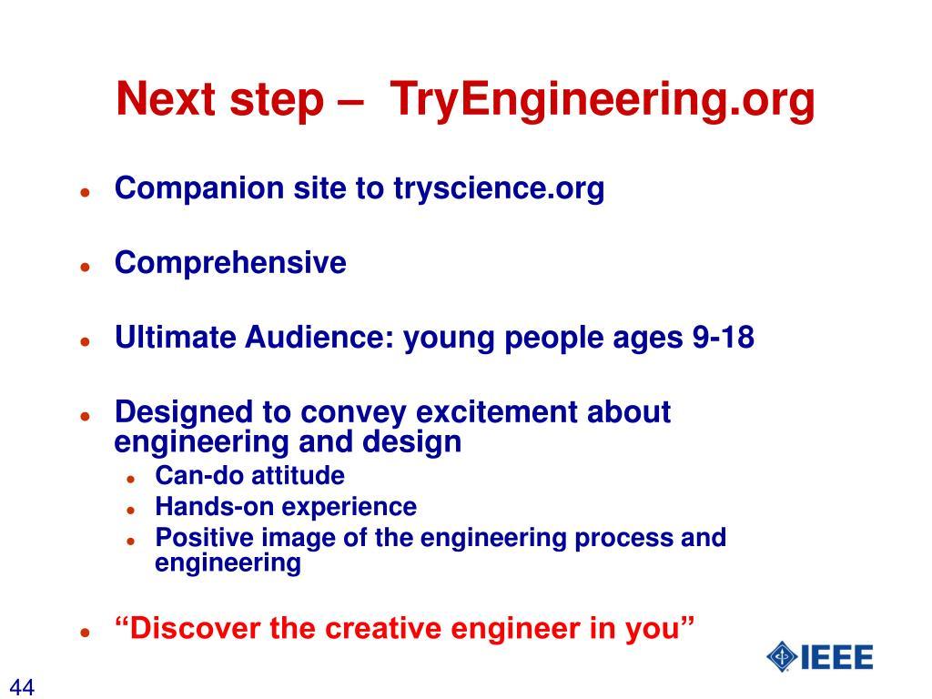 Next step –  TryEngineering.org