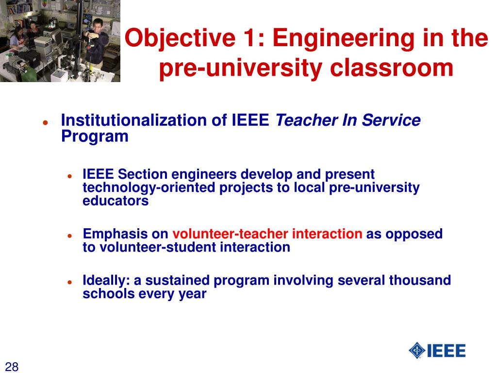 Objective 1: Engineering in the pre-university classroom