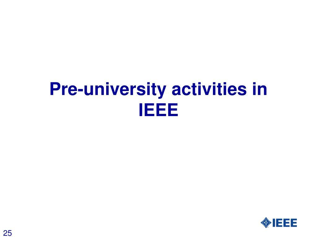 Pre-university activities in IEEE