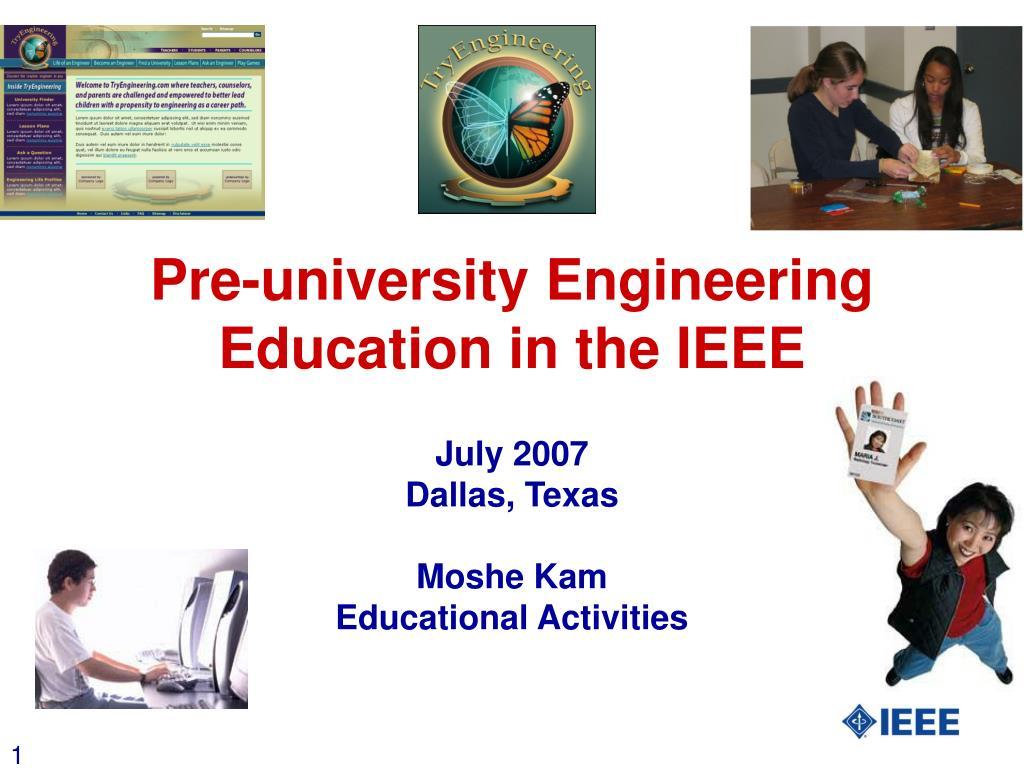 Pre-university Engineering Education in the IEEE