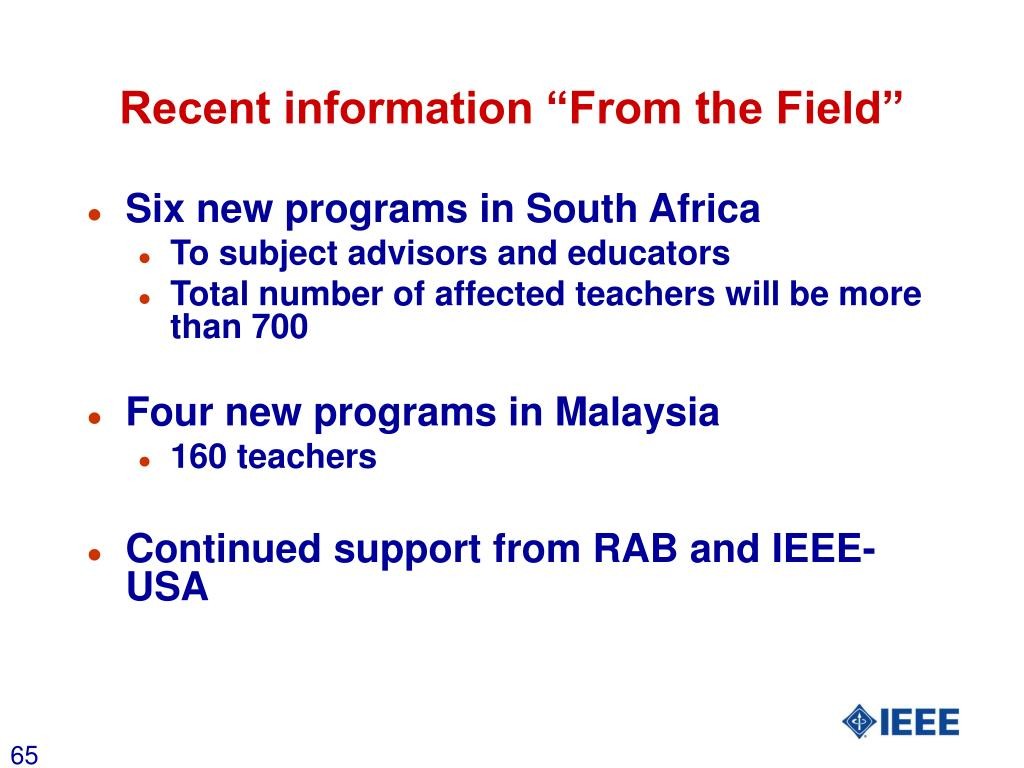 """Recent information """"From the Field"""""""