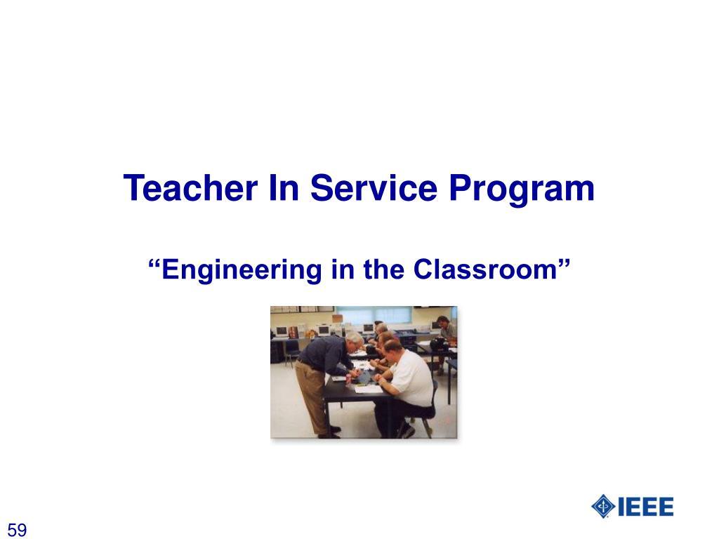 Teacher In Service Program