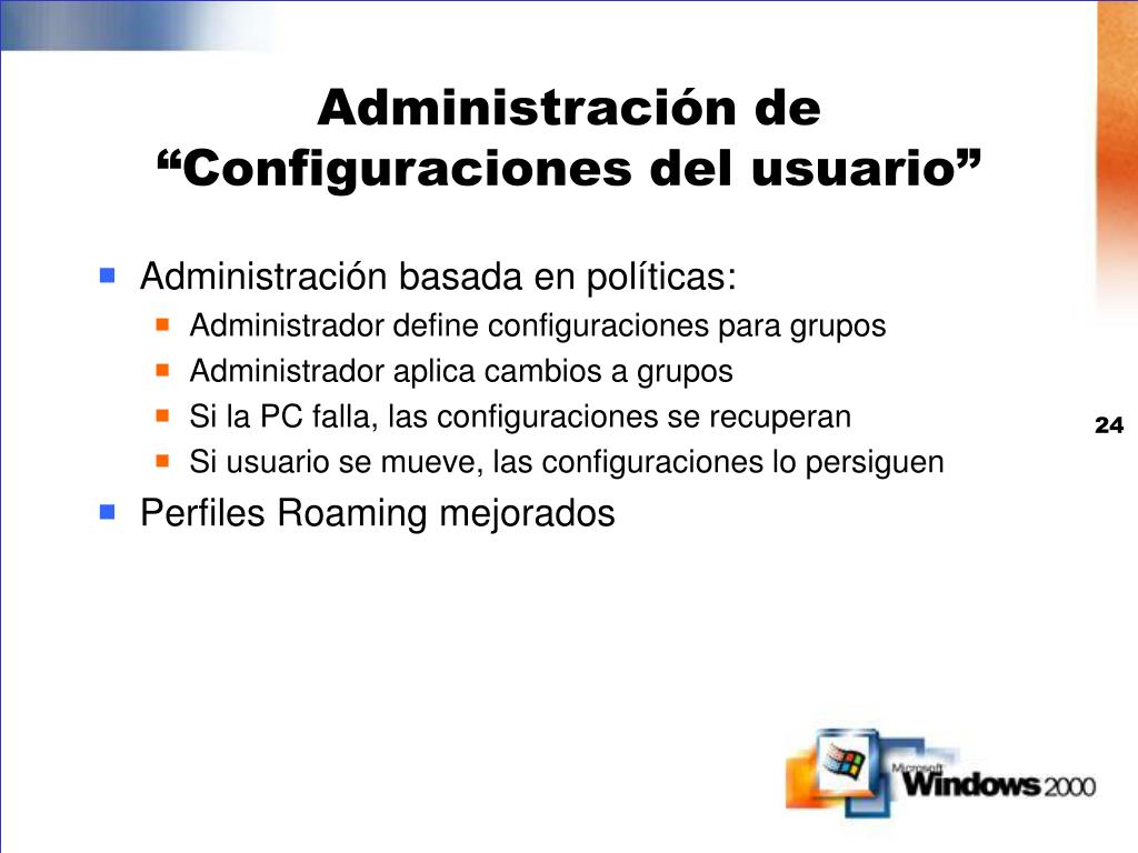 """Administración de """"Configuraciones del usuario"""""""