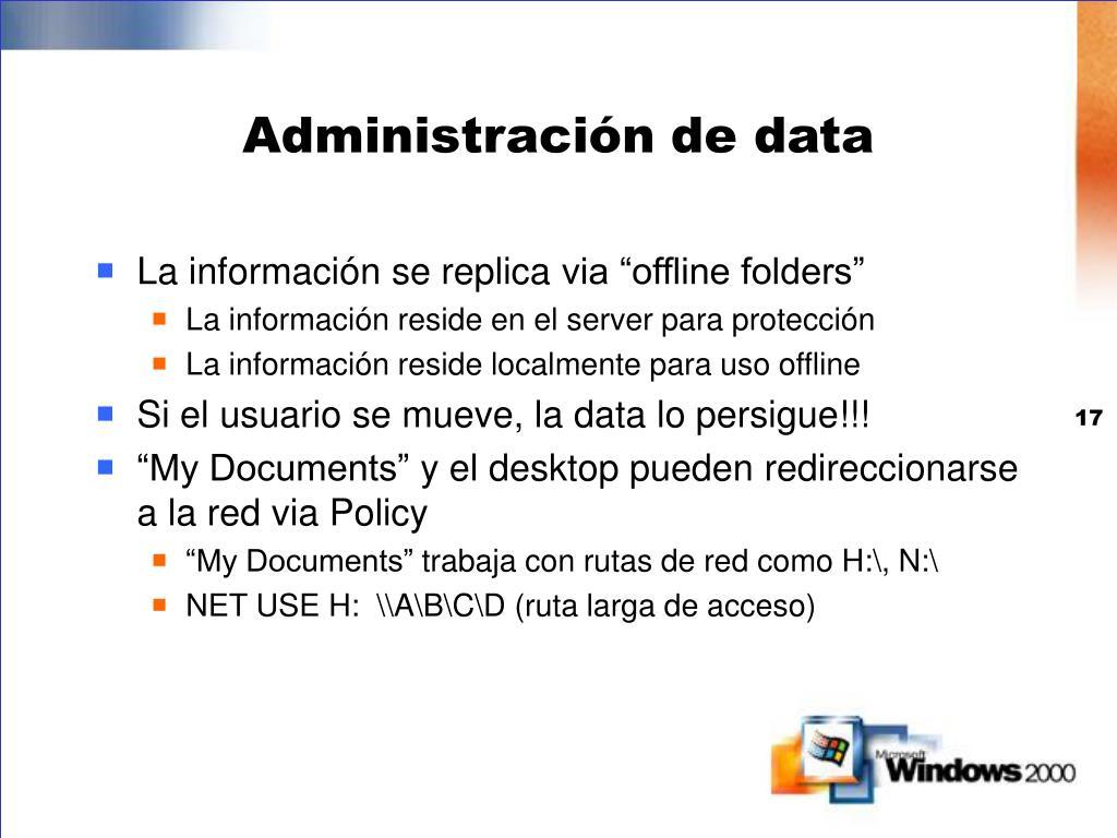 Administración de data