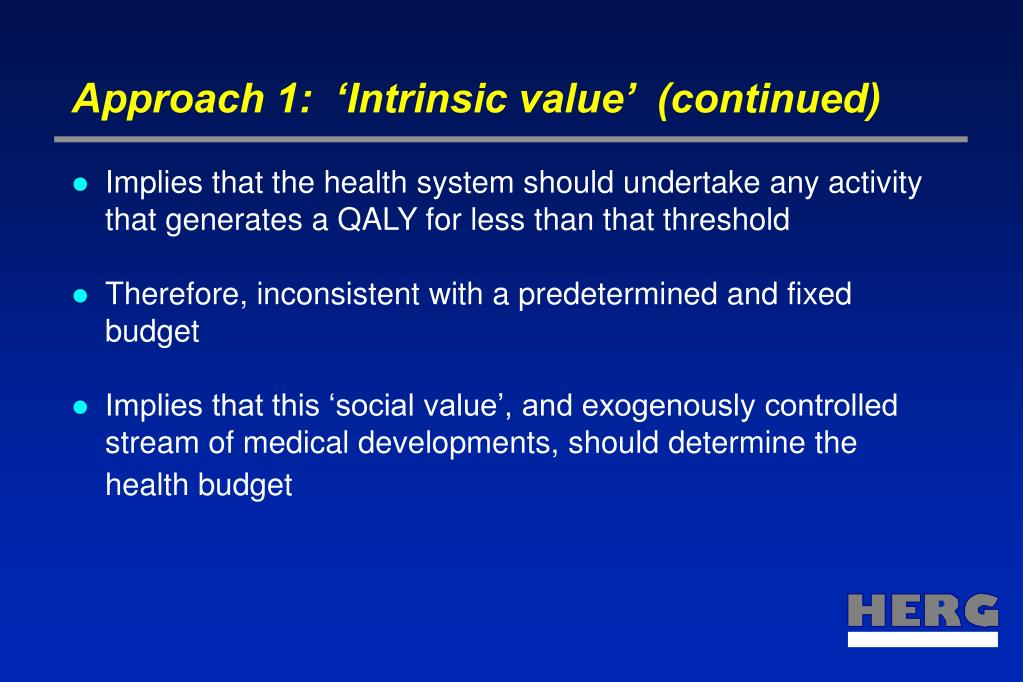 Approach 1:  'Intrinsic value'  (continued)