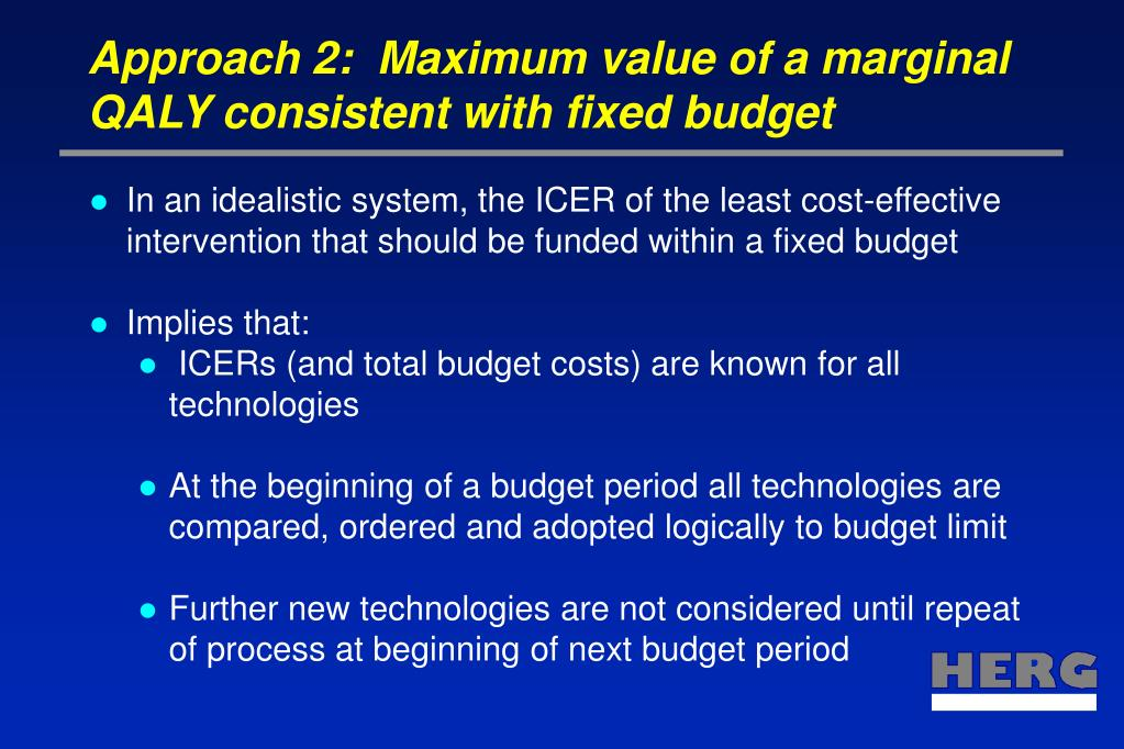 Approach 2:  Maximum value of a marginal QALY consistent with fixed budget