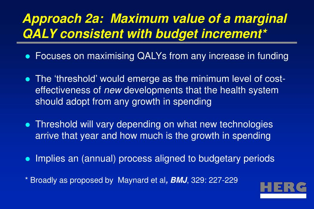 Approach 2a:  Maximum value of a marginal QALY consistent with budget increment*