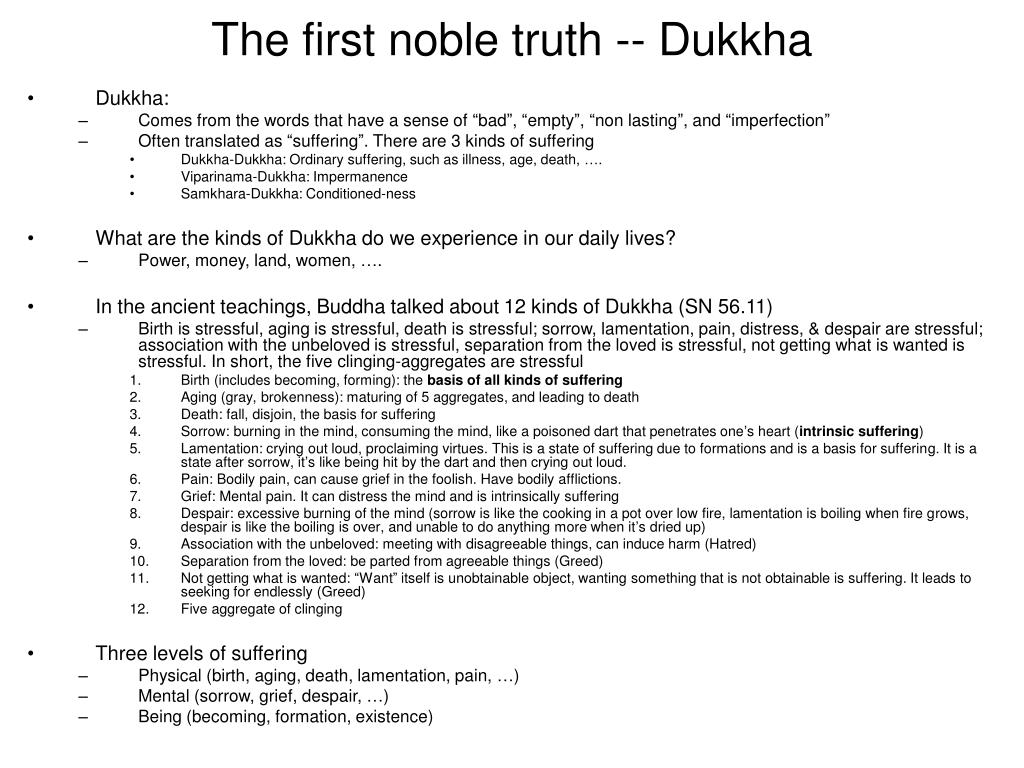 The first noble truth -- Dukkha