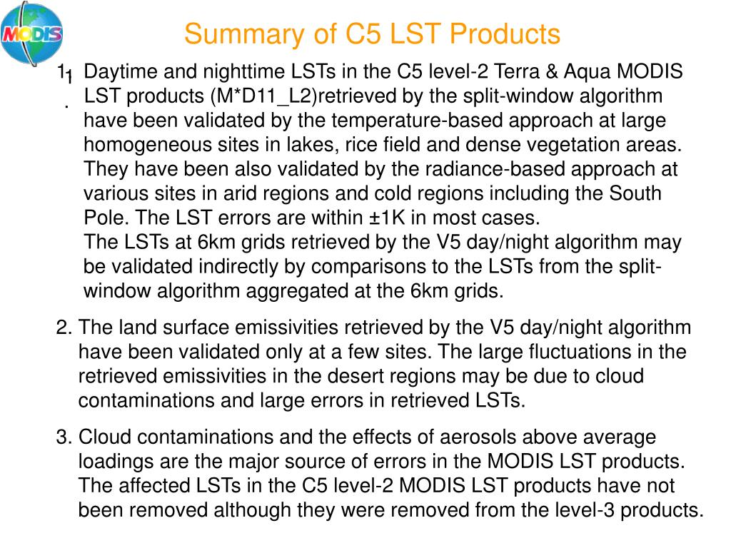 Summary of C5 LST Products