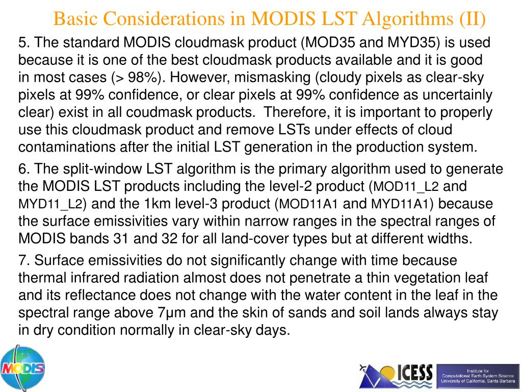 Basic Considerations in MODIS LST Algorithms (II)