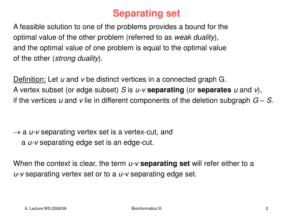 Separating set