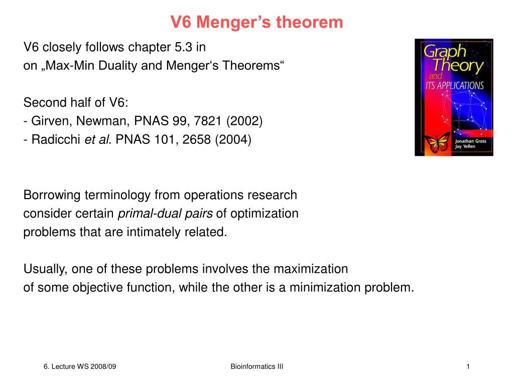 V6 Menger's theorem