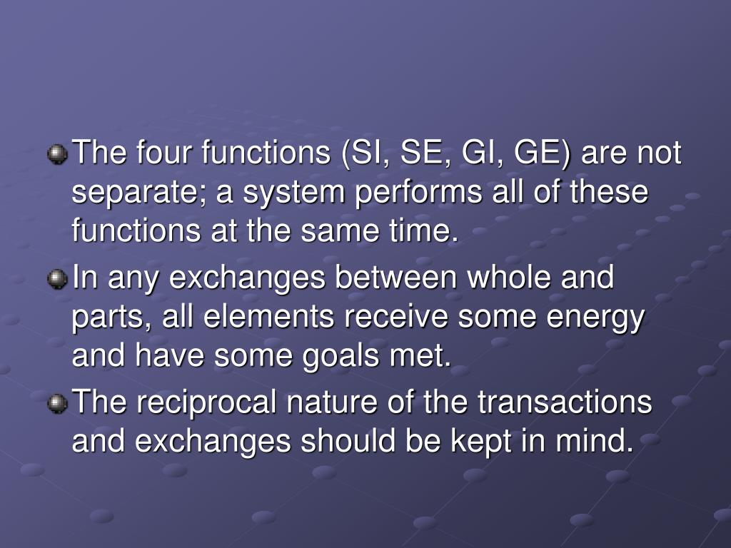 The four functions (SI, SE, GI, GE) are not separate; a system performs all of these functions at the same time.