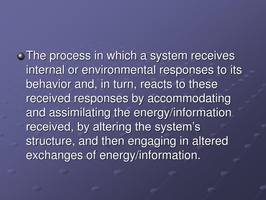 The process in which a system receives internal or environmental responses to its behavior and, in turn, reacts to these received responses by accommodating and assimilating the energy/information received, by altering the system's structure, and then engaging in altered exchanges of energy/information.