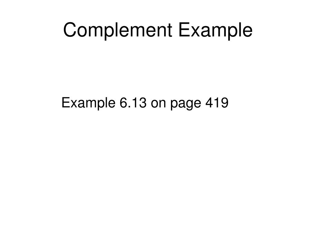 Complement Example