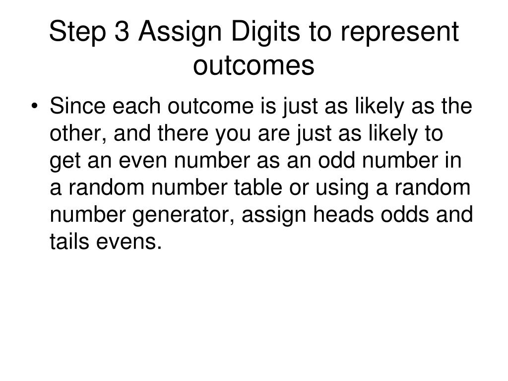 Step 3 Assign Digits to represent outcomes