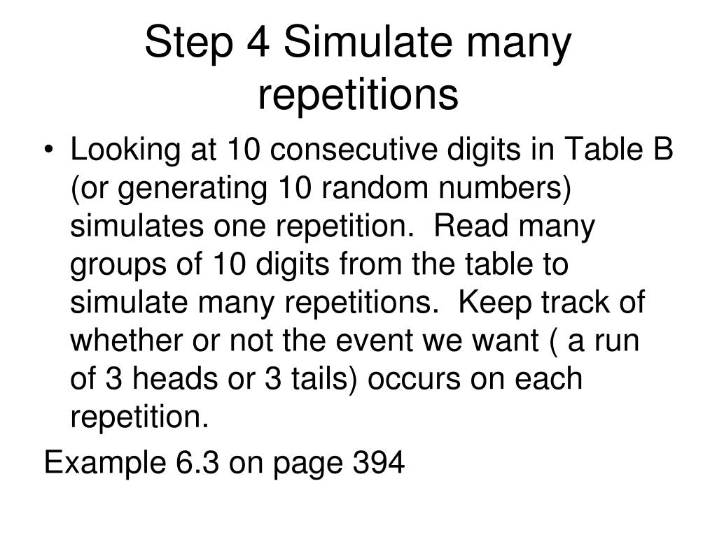 Step 4 Simulate many repetitions