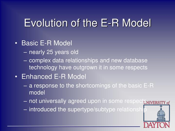 Evolution of the e r model