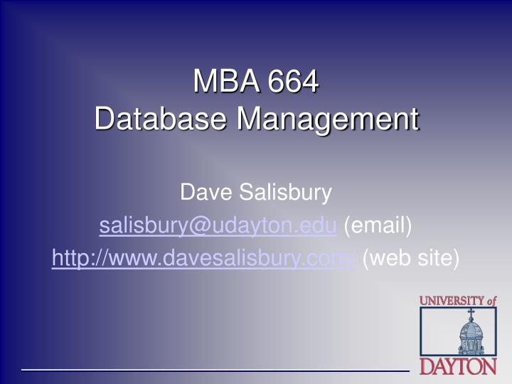 Mba 664 database management