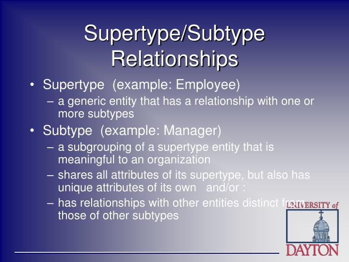 Supertype subtype relationships
