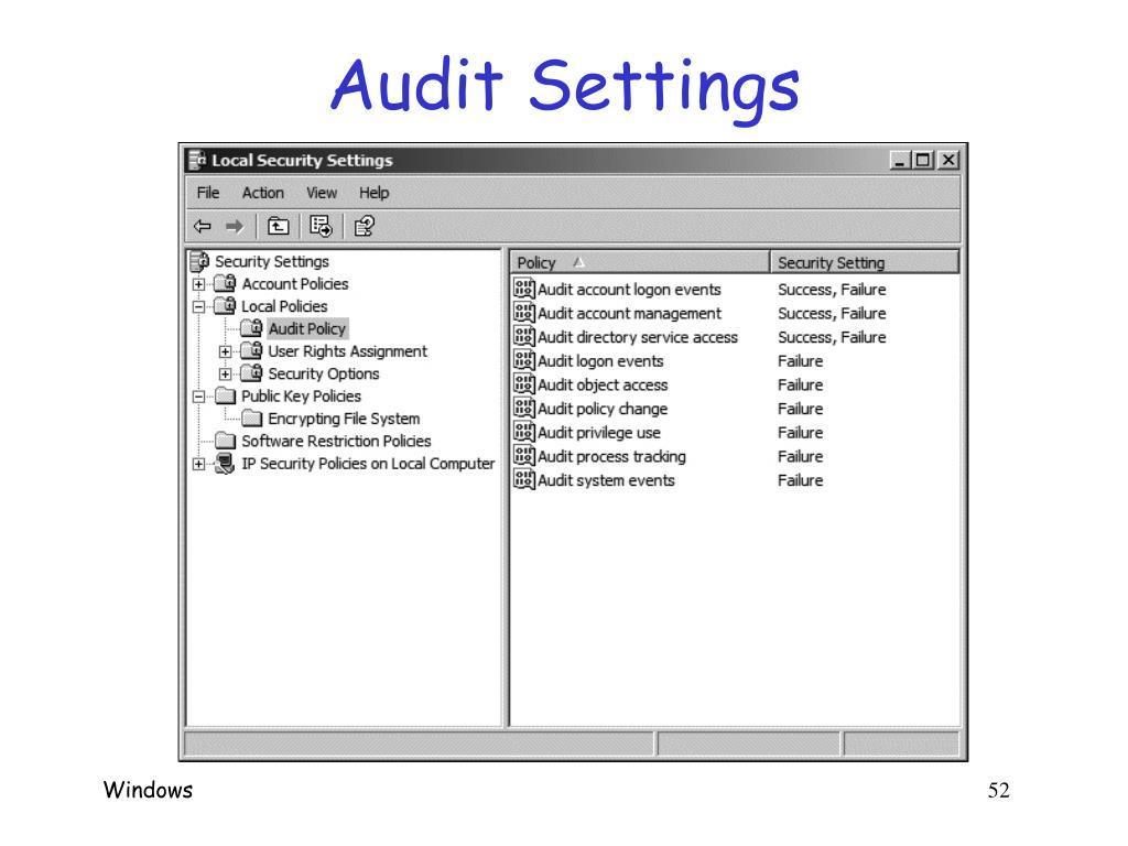 Audit Settings