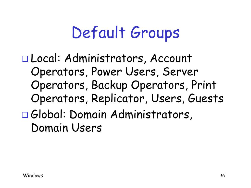 Default Groups