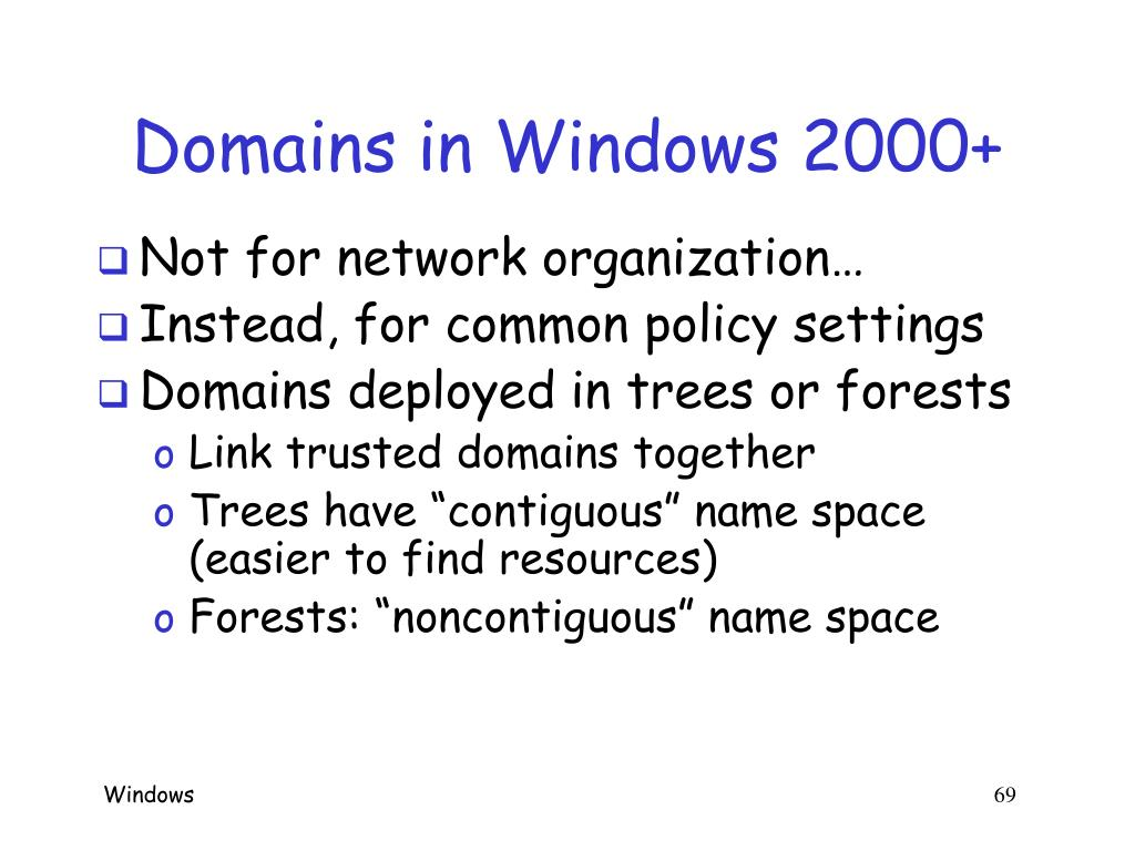 Domains in Windows 2000+