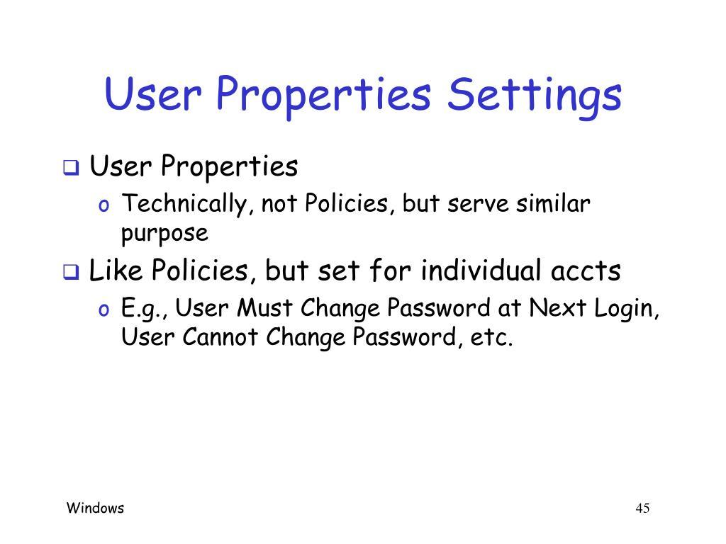 User Properties Settings
