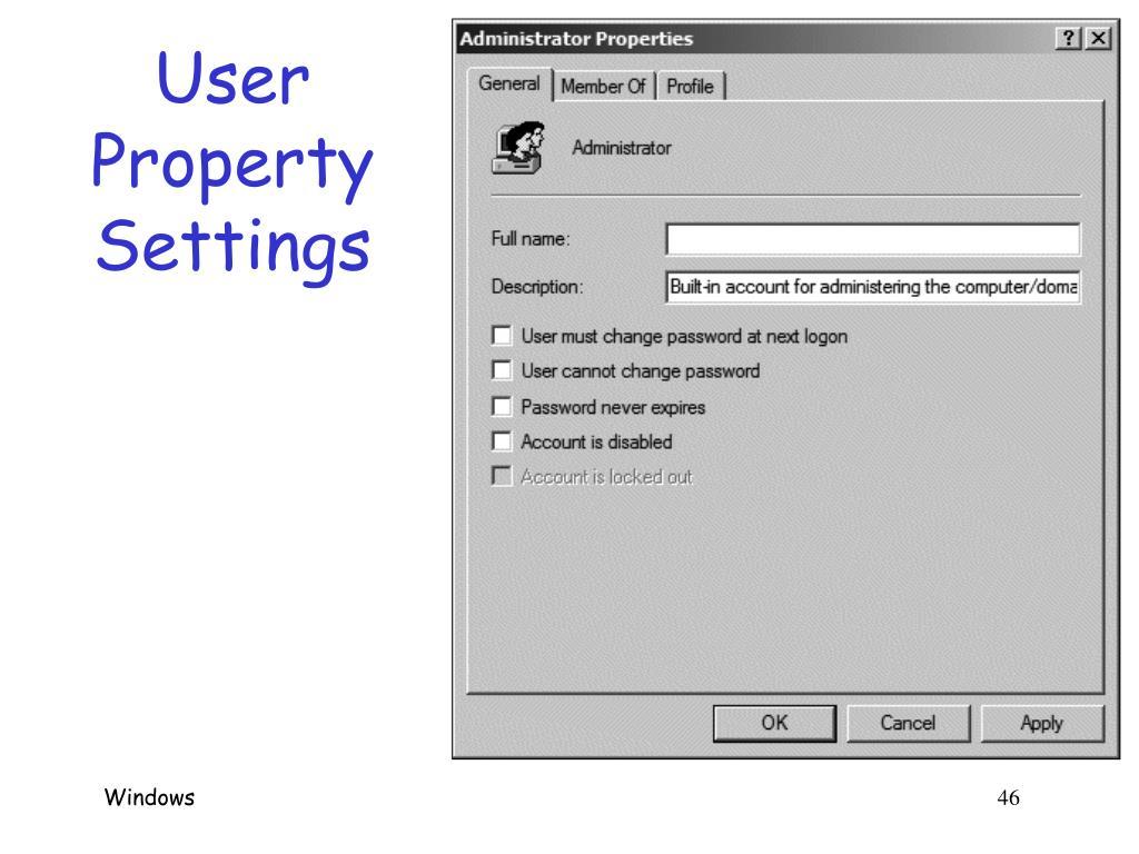 User Property Settings