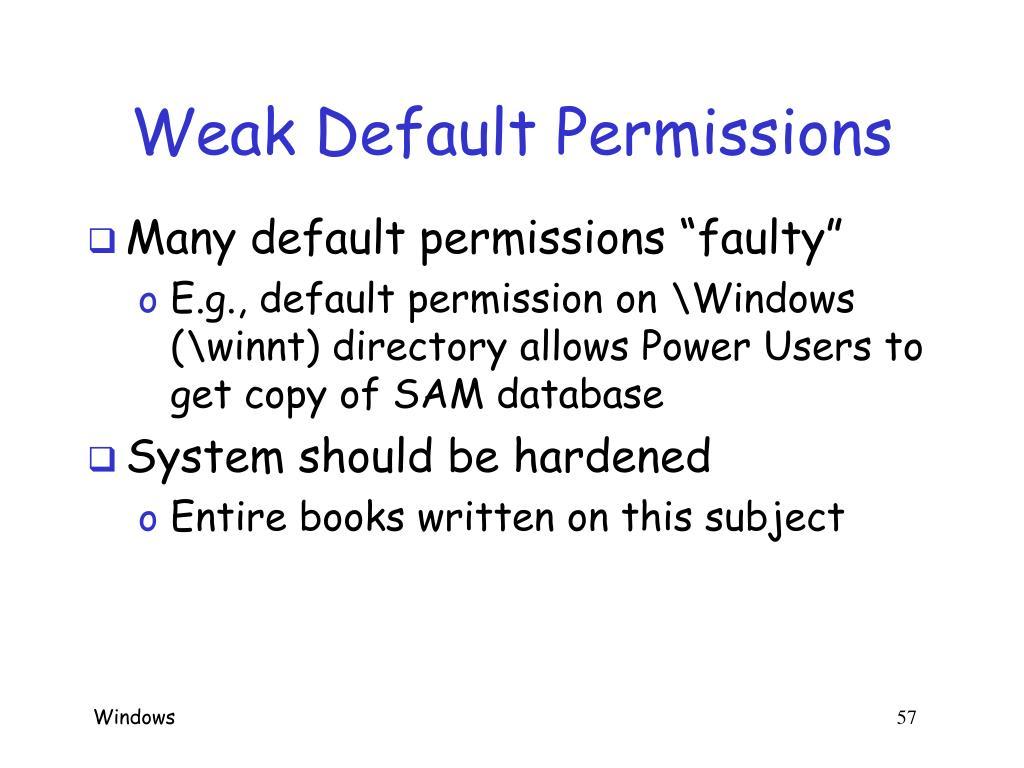 Weak Default Permissions