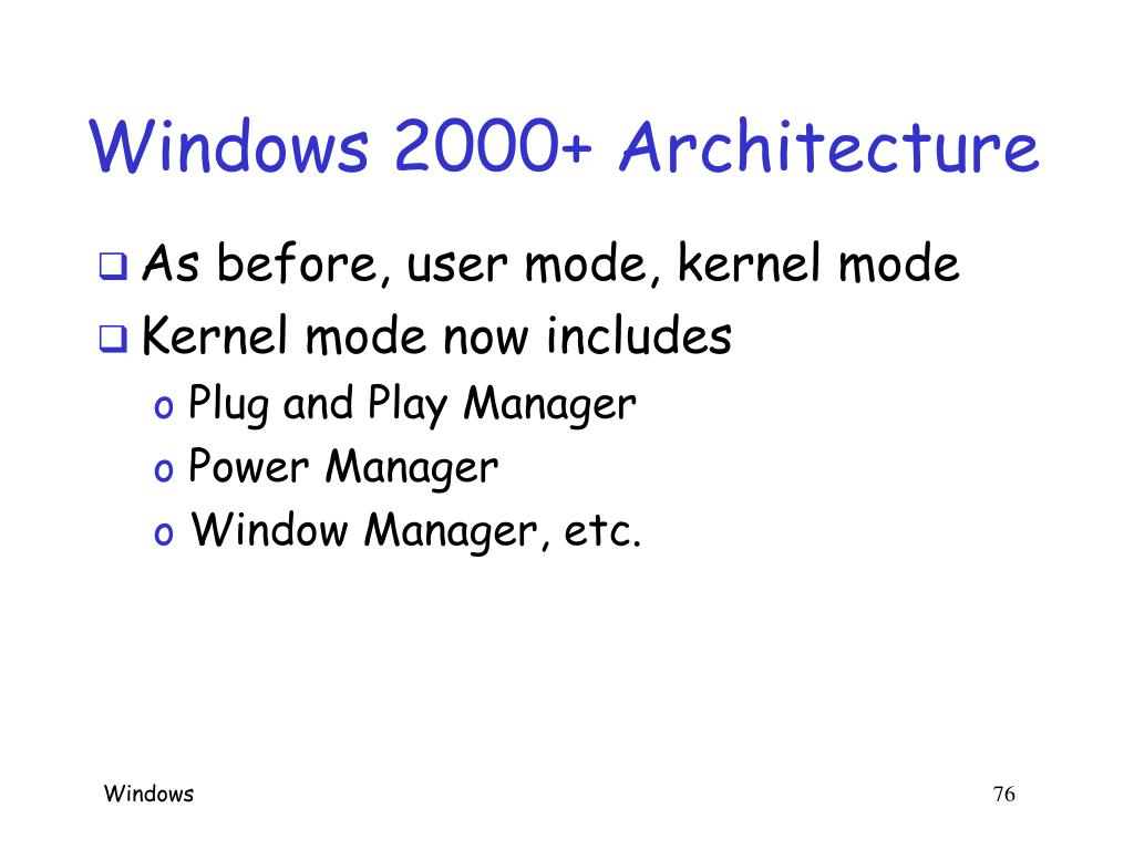 Windows 2000+ Architecture