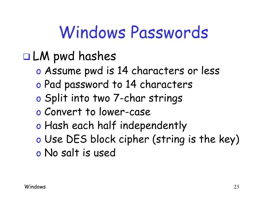 Windows Passwords