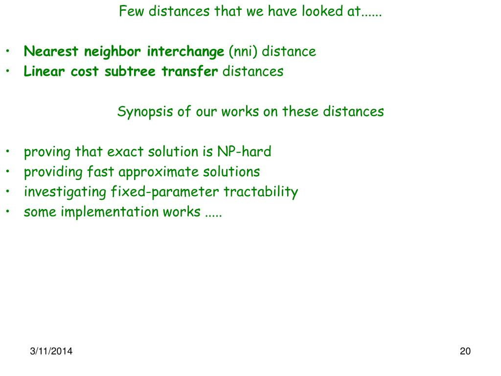 Few distances that we have looked at......