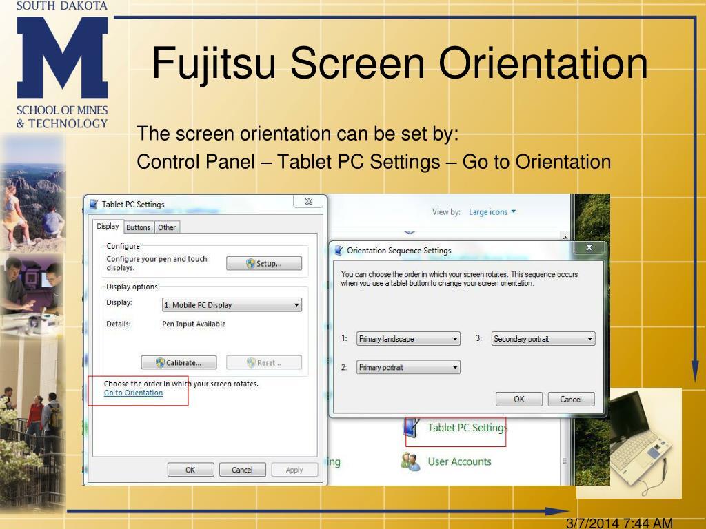 Fujitsu Screen Orientation
