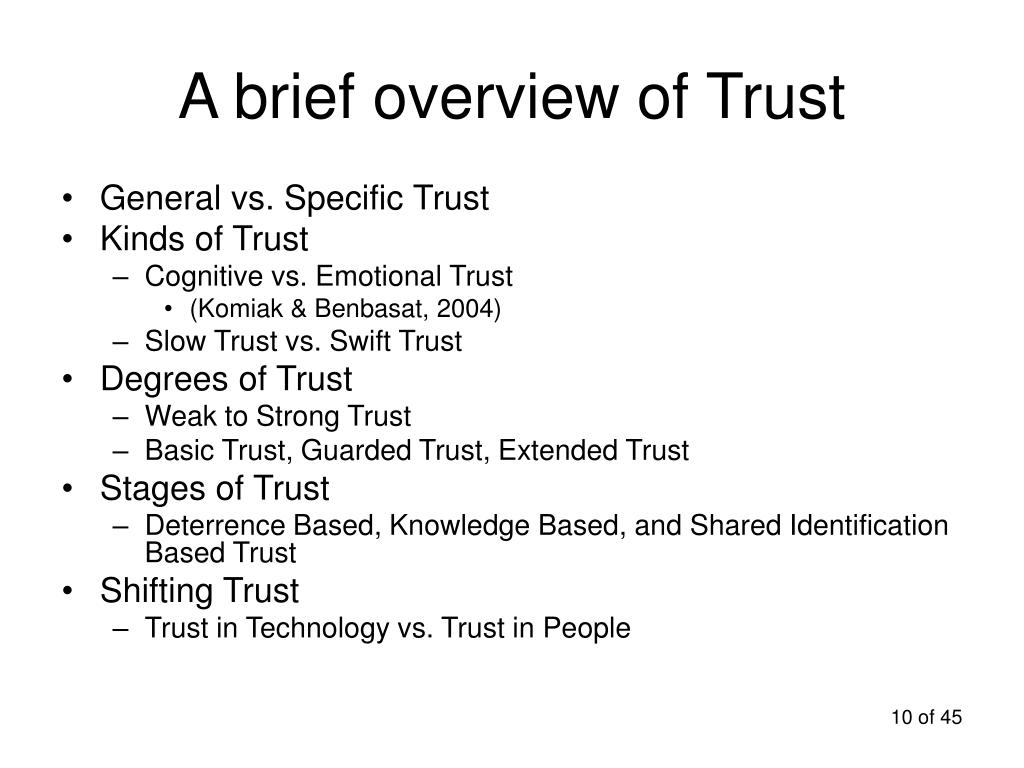 A brief overview of Trust
