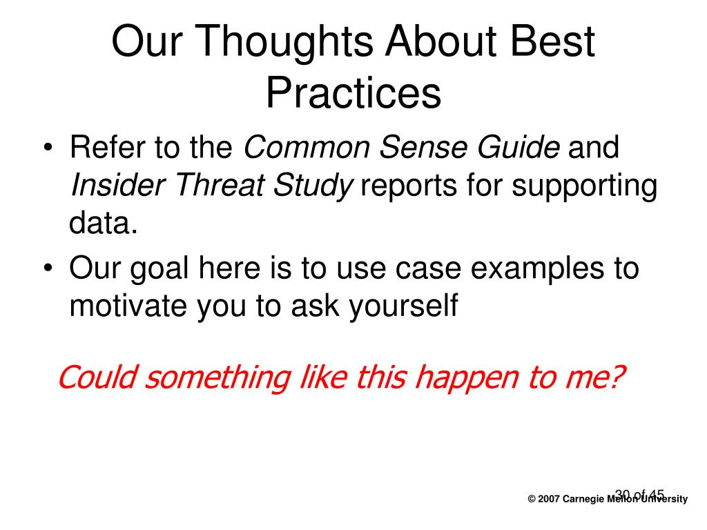 Our Thoughts About Best Practices