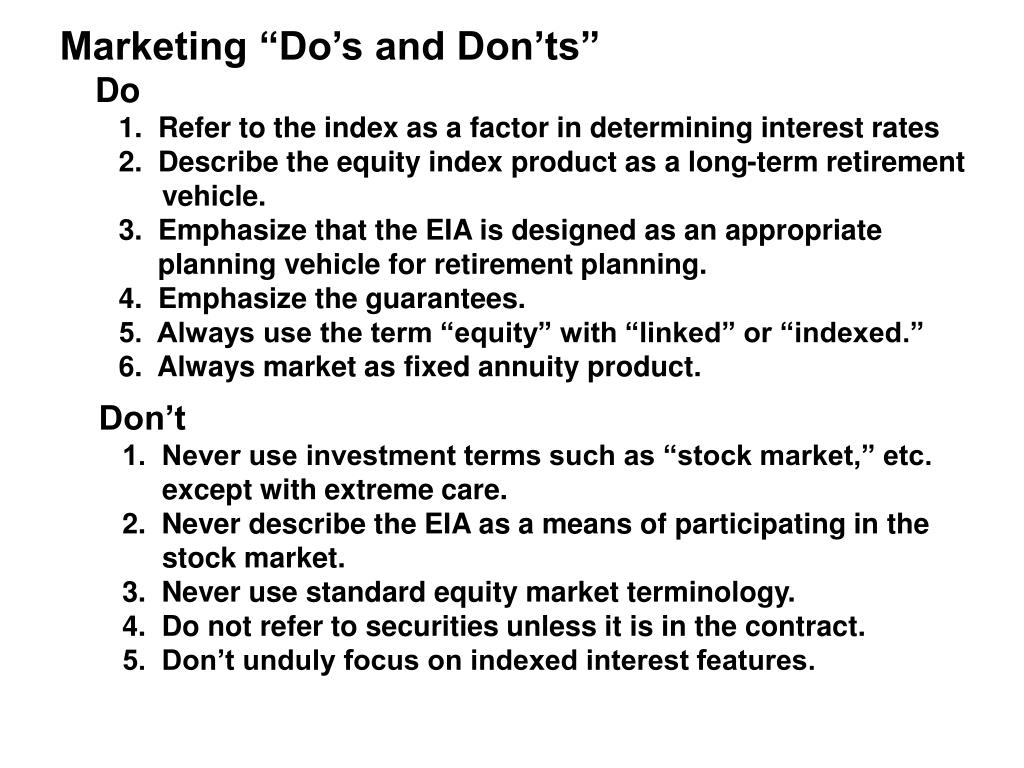"Marketing ""Do's and Don'ts"""