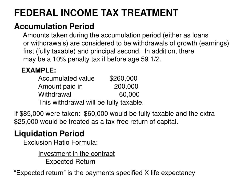 FEDERAL INCOME TAX TREATMENT